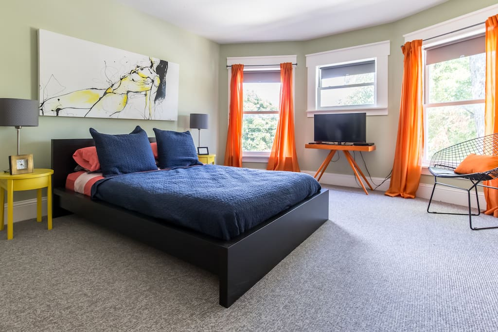Modern pops of color and hip decor