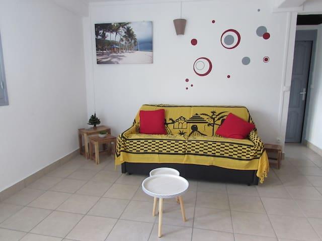 Salon spacieux : Canapé lit convertible 140 x 190, table basse