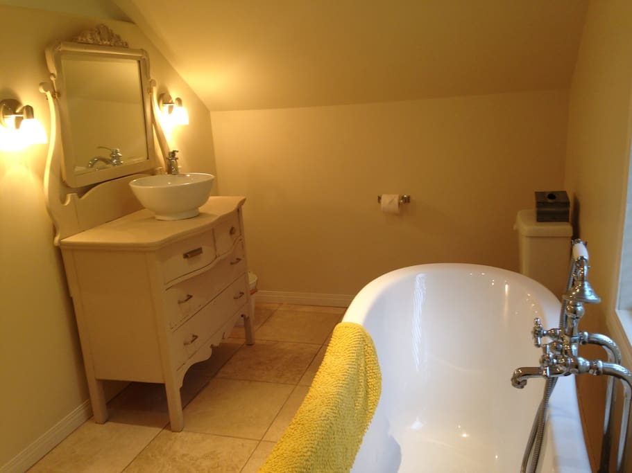 Bathroom with open concept and claw foot tub.