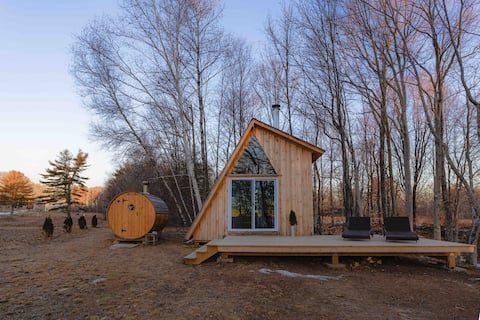 The G Frame...an offGrid Cabin + woodstove  sauna