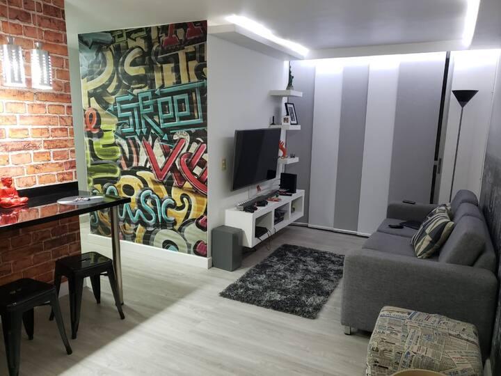 Apartamento amoblado de 56 metros cuadrados comodo