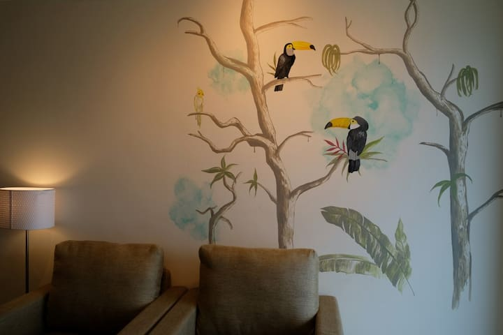 Painting on the wall in the living room