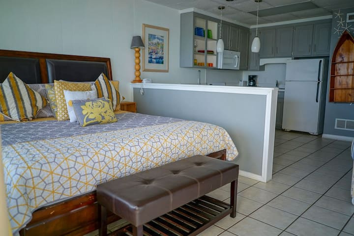 New Listing! Updated, beautiful studio just steps from the water! Beach views!