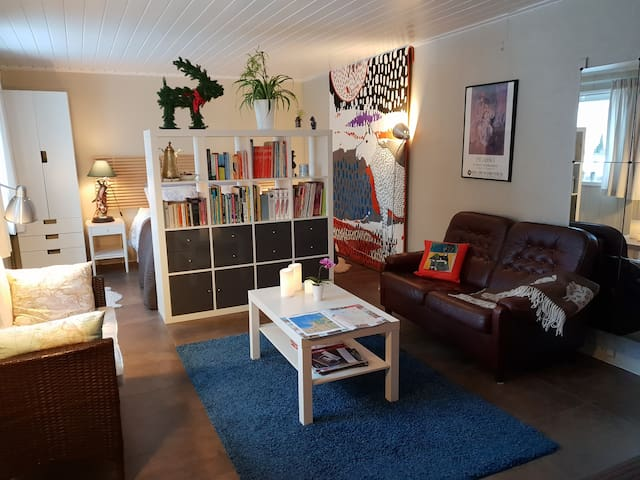 The 25 sq meters bed-sitting room has a queen sized bed behind the bookcase.  The tiled floor is heated in cold weather. We can also make up a full length single bed & can put in 1 or 2 single 165 cm length beds suitable for children.
