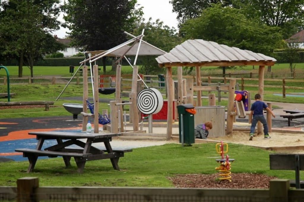 Children's play area at Queens Park, opposite the house