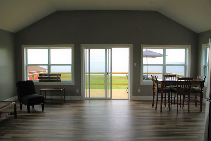 Oceanfront cottage and view of Northern Bay Sands