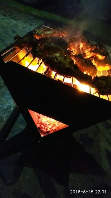 Let's grill.. It's cool around here, good food too warm up.