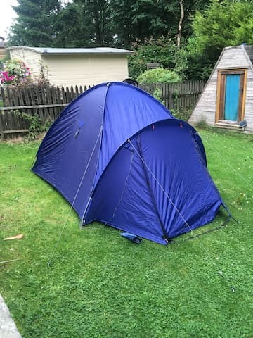 2 man tent in garden with wifi