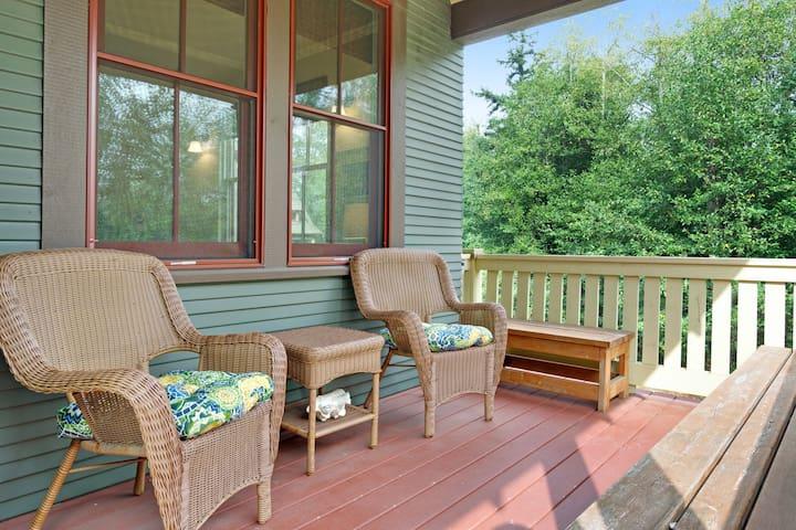 Dog-friendly getaway w/ an ocean view, outdoor fireplace, & beach access!
