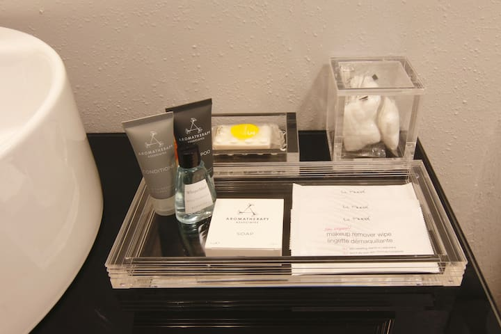 Bathroom amenities to get you started during your relaxing stay.