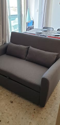 COIN SALON CANAPÉ NEUF COUCHAGE 2 PERS TV PLASMA REPAS