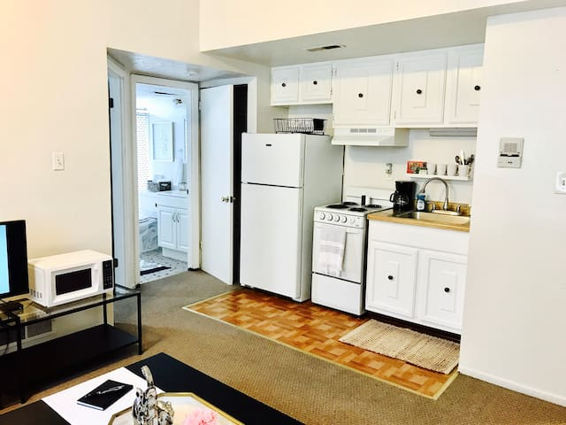Private kitchenette includes coffee maker, refrigerator, stovetop/oven and basic cooking supplies