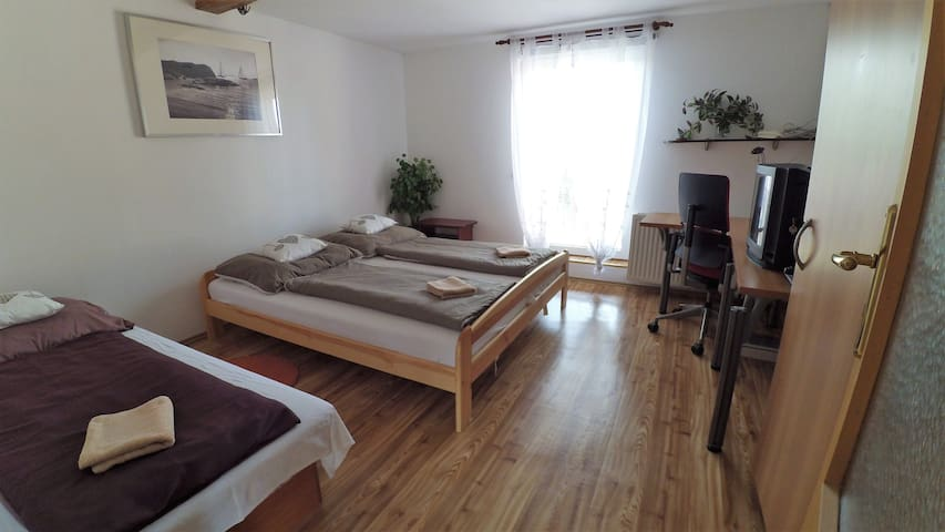 Pokoj č.1- Room number 1, double bed, single bed