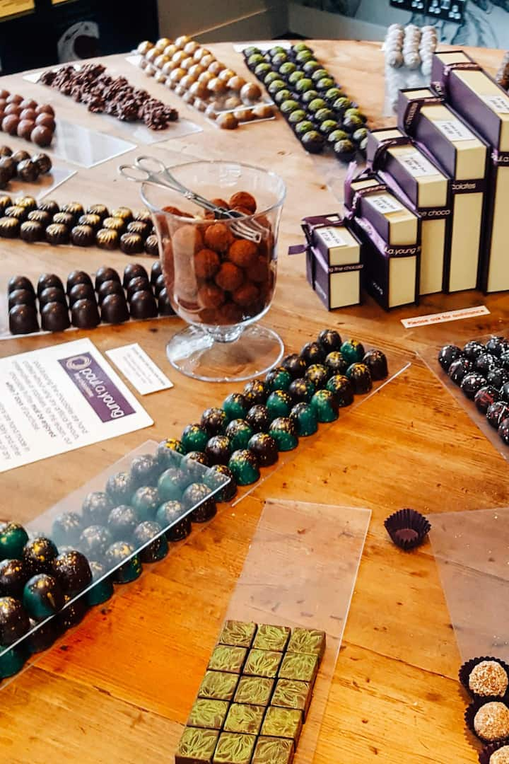 A table of chocolate truffles