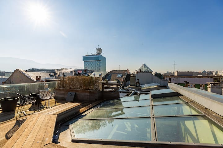 2BD Modern Apartment in Geneva Center with Rooftop