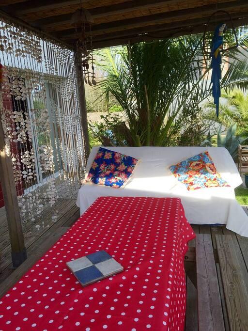 Terrasse avec sa Grande Table en Bois
