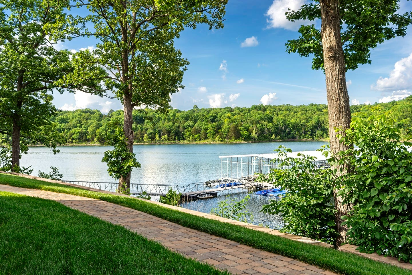 A paved path to the boat dock!