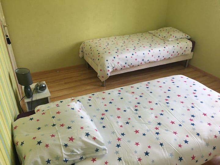 Chambre 2 lits 1 personne  + salle de bain privée