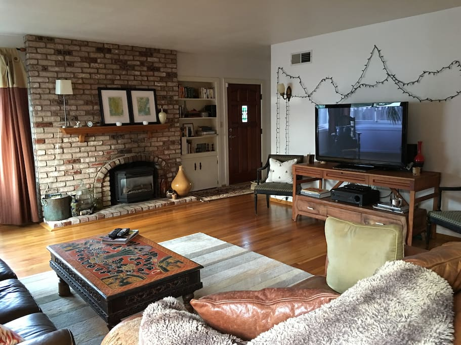 Gas Fireplace and cozy TV area