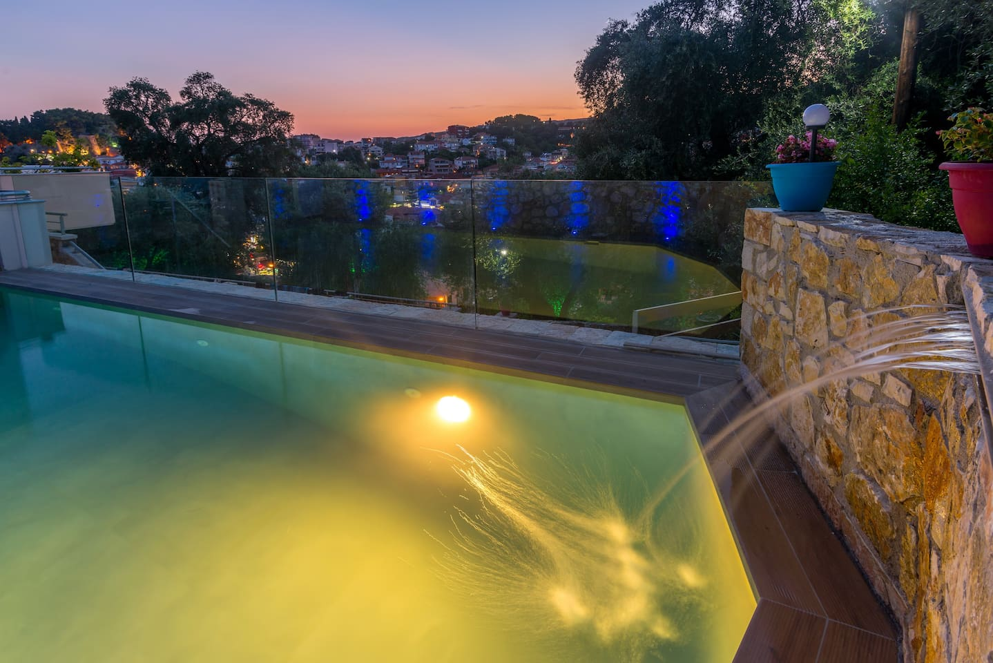 Parga town private pool with sunset view