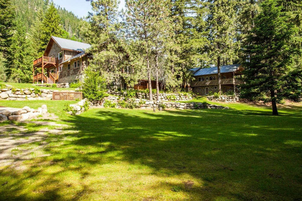 Sprawling yard below Snowgrass Lodge and Heartwood House