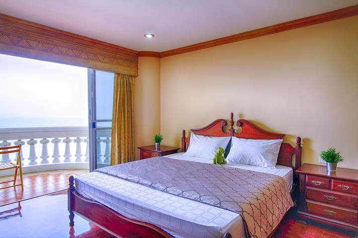 Bed Room# 1 with Private Balcony : King Size Mattress ( 2Pillow Covers,Bed Sheet and Duvet Cover are provided)