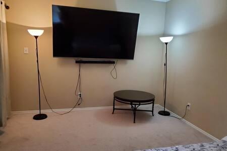 """Peace+Comfort #7, Queen bed, 82"""" TV"""
