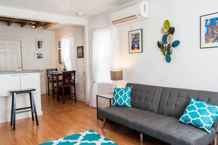 Stylish downtown apt, with bike rentals on site.