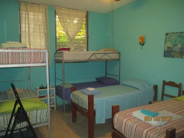 Our #2 Caribbean Blue Room sleeps 1-6; as you can see, 6 people requires us to use 2 top bunks. 2-3 persons in this room is ideal. Large closet spaces are a bonus in this room.