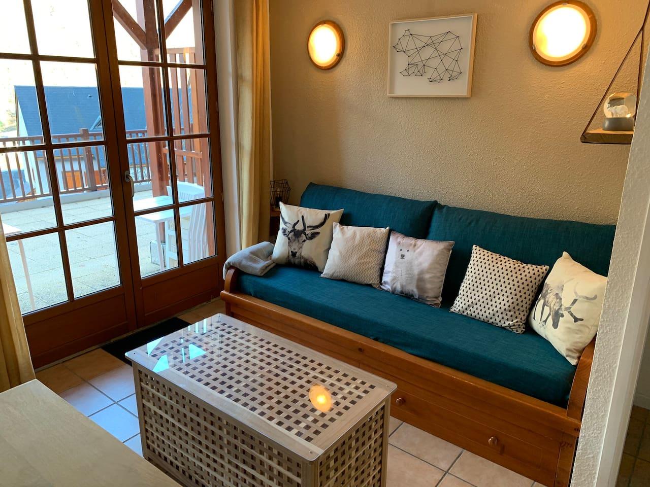 Salon, canapé-lit et accès terrasse