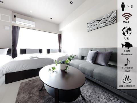 Triple Room♪ Good access to Namba、Umeda、USJ★