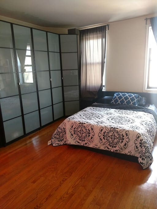 Queen sized memory foam mattress and a wardrobe for your personal use