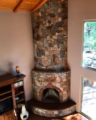 Living room fireplace.