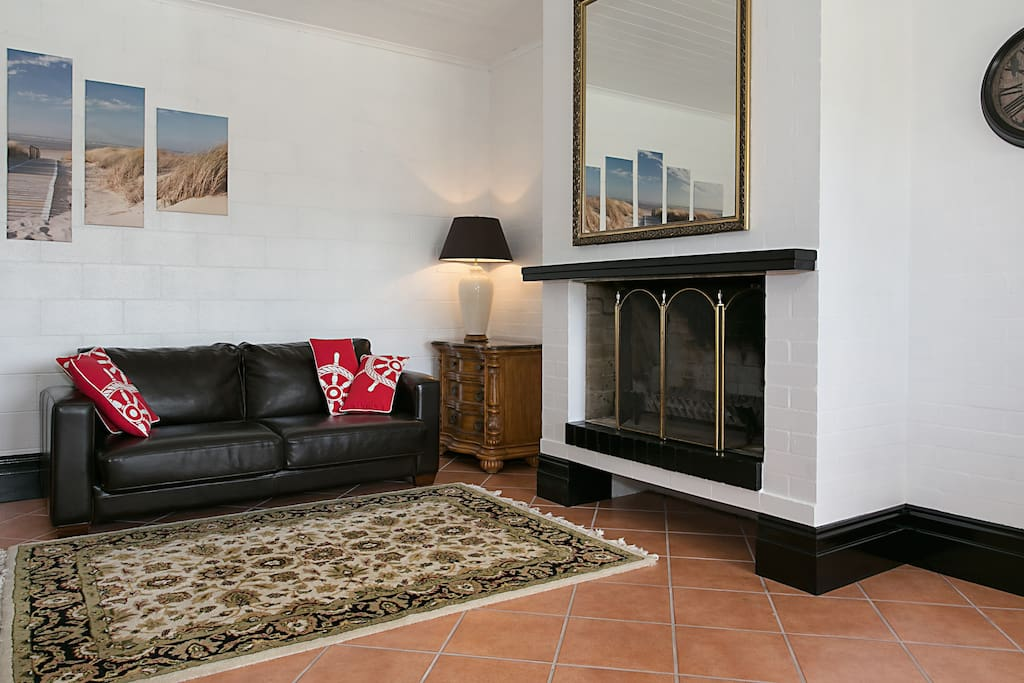 Full size fire place and 3 seater sofa