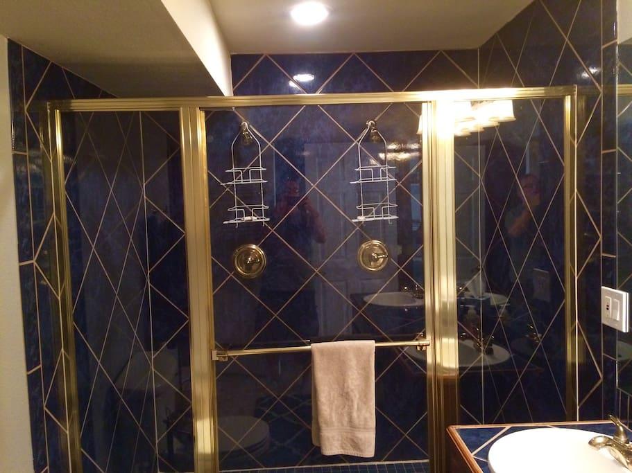 Dual showers in basement bath