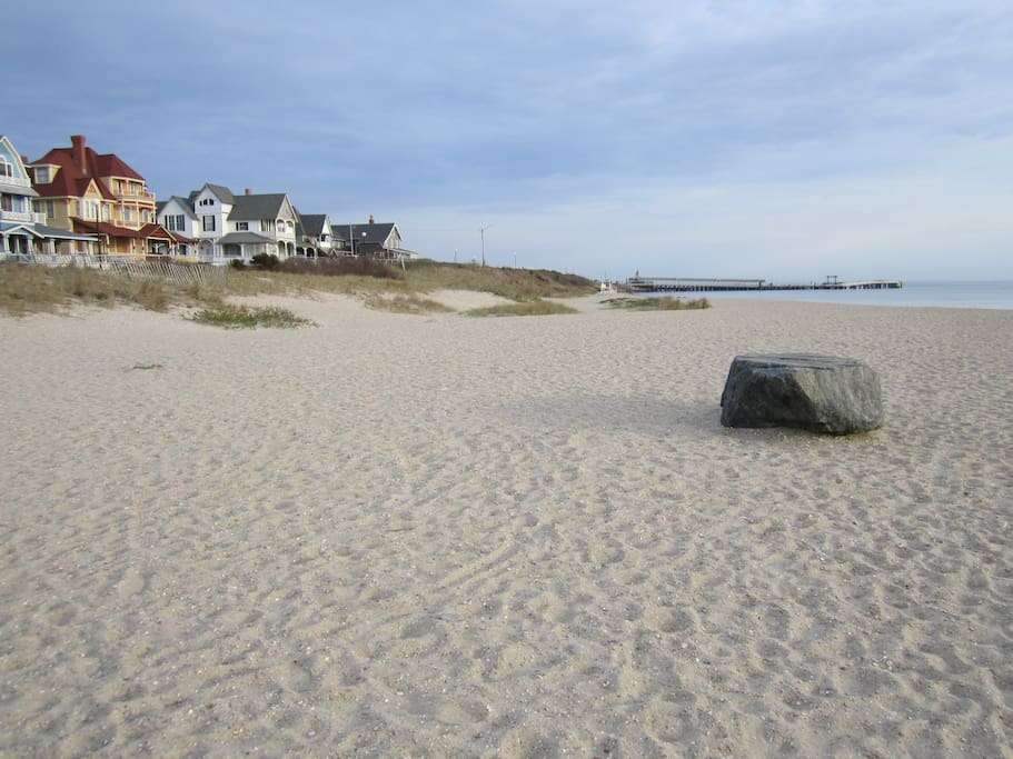 Oak Bluffs Town Beach (aka the Inkwell) is steps from cottage.