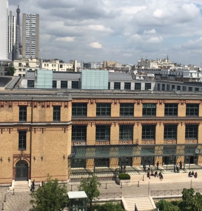view from the living room on former National printing office and Eiffel Tower