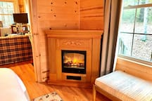 The fireplace in the bedroom is romantic and makes for a warm, cozy stay!