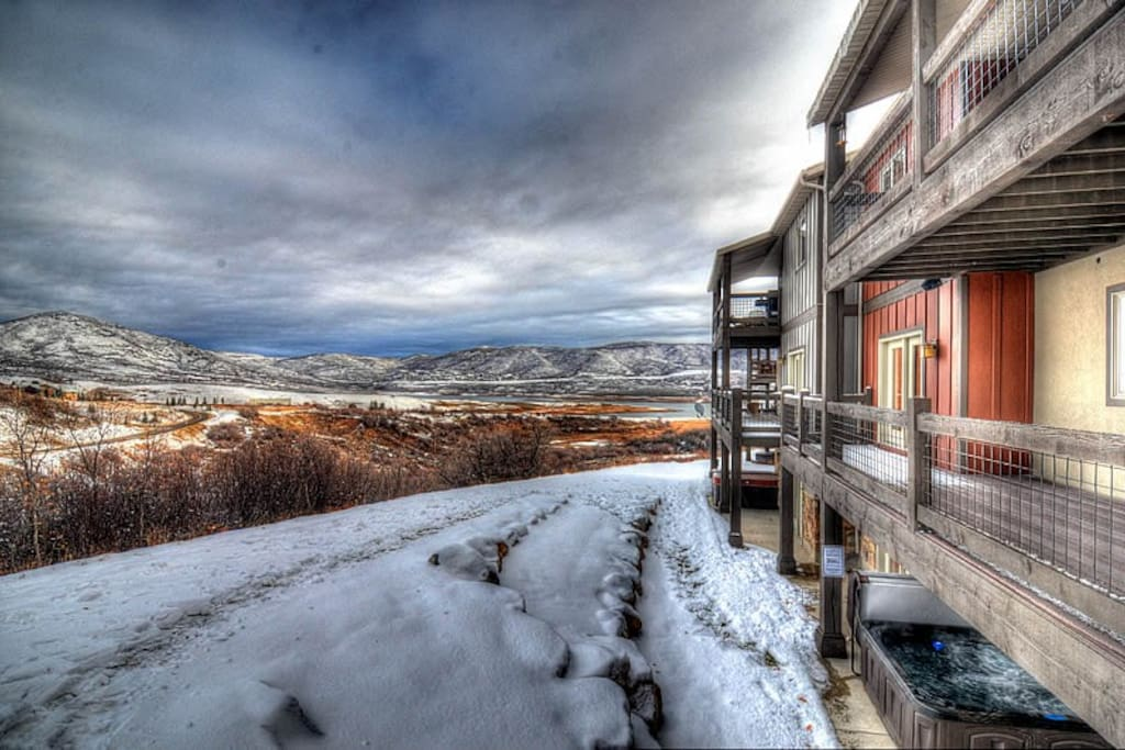 Rear of Home with View to Jordanelle Reservoir (winter)