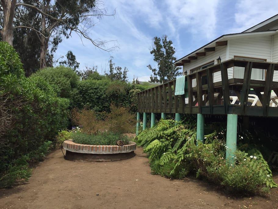 Casa desde patio de atrás, y terraza./ The house from the backyard, and the terrace.