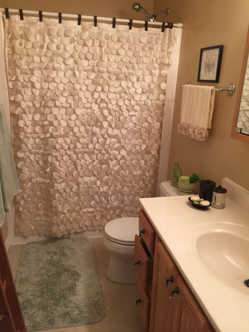 Private bath with walk-in shower.
