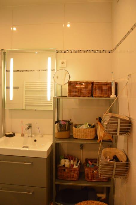 Salle de bain avec rangement.