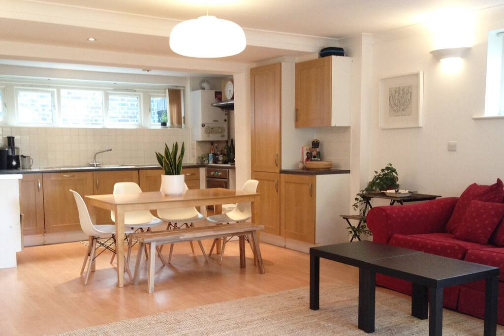 Open plan kitchen/living room/backyard