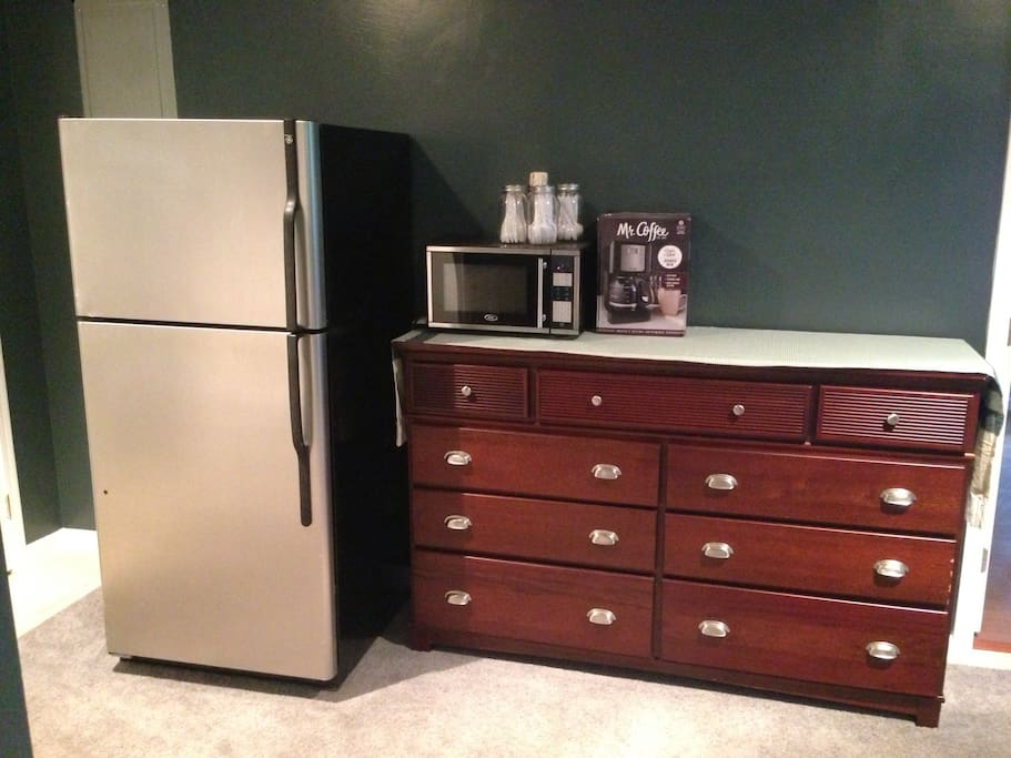 Full size refrigerator, microwave, and coffee maker for your enjoyment. No stove or oven.
