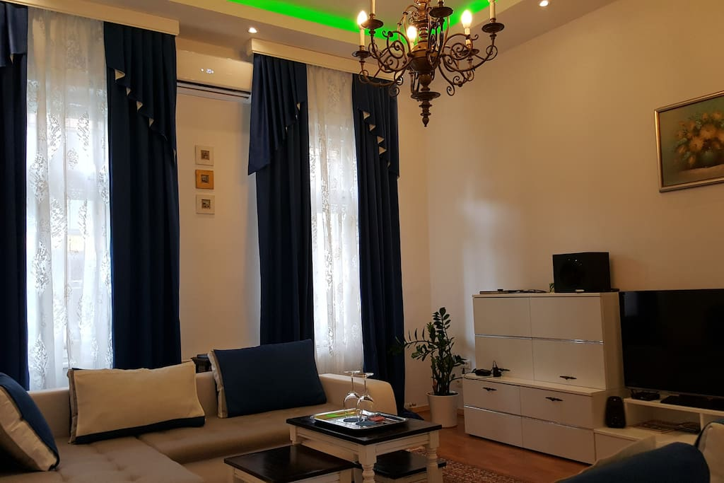 Living room from where you can plan your trip together with your family, friends or business partners.  E&E Apartments Ljubljana center.