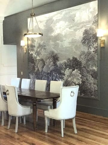 Dining Area with mural