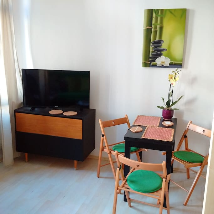 102 cm TV flat with dining place