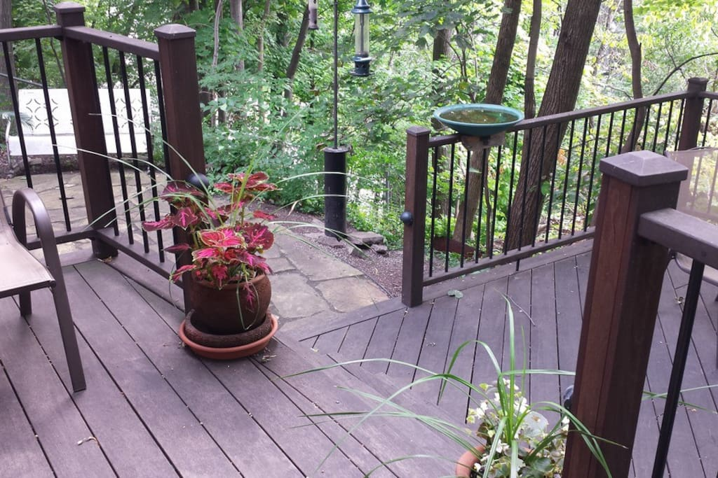 private deck with view of hill and park