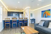 Open concept kitchen / livingroom to take full advantage of ocean view