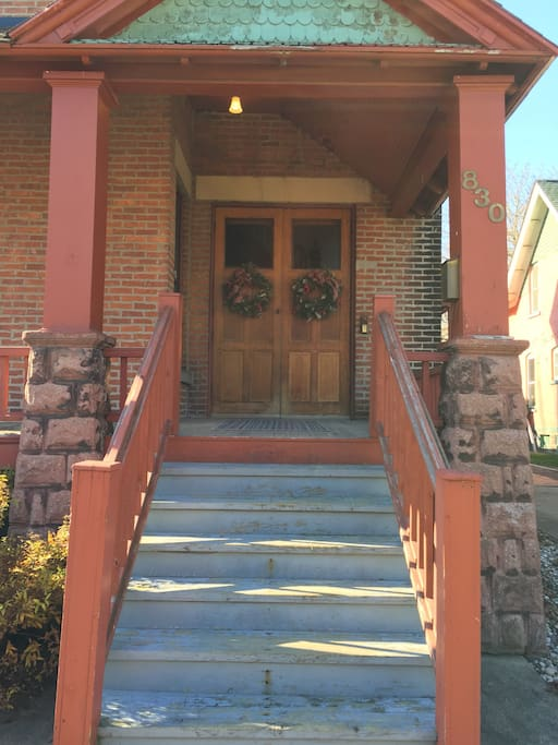 Entrance but side porch entrance is primary entrance